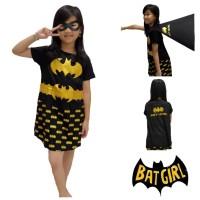 Baju Kostum Anak Cewek Karakter Superhero Bat Girl Gold Foil Dress