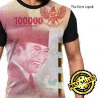 Kaos Baju Gambar Duit Cepek Baru Uang 100 Ribu Fullprint