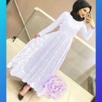 baju gamis pesta muslim wanita abaya brokat brukat dress maxi putih