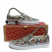 Sepatu Wanita Vans Slip On Motif Disney Mickey Mouse Grey Premium BNIB