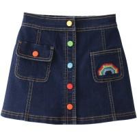 rainbow denim skirt girl anak perempuan rok mini jeans anak