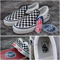 Sepatu Vans slip On catur checkerboard anaheim black white premium ori