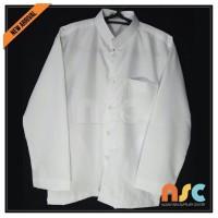 Terbaru! Baju Koko Pria Muslim Tangan Panjang kancing - Putih Polos