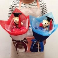 Buket Bunga Graduation Kado Boneka Wisuda Free kartu Ucapan 3B+1W