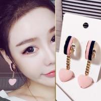 Anting Korea Double Color Velvet Love Tassel Earrings JUN092