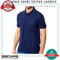 Kaos Kerah Polo Shirt Lacoste Cotton Standart Distro BIRU DONGKER