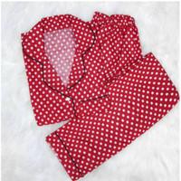 Baju Tidur Cewek/Wanita Piyama/Pajamas Katun Motif Polkadot Merah (CP)