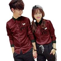 KEMEJA COUPLE/KEMEJA PASANGAN/BAJU COUPLE KOREA LOVE LATIN GROSIR