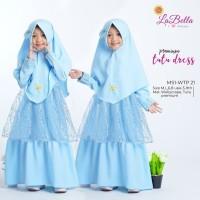 WTP 21 Biru Baju Muslim Gamis Anak LaBella Wollycrepe Tutu Premium
