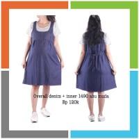 Baju hamil jeans overall 1490 abu muda