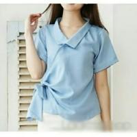 Terbaru Kimono Ribbon side biru muda [Atasan Wanita Blouse 0108] RAR