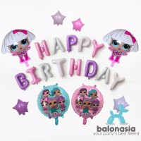 Balon Foil Dekorasi Ulang Tahun LOL Surprise! Ungu Set