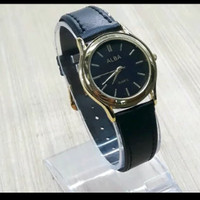 jam tangan wanita tali kulit japan - Hitam