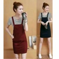 overall dress jumper baju kodok wanita rok mini terusan korea unik
