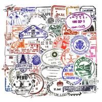 Sticker Koper Transparan 1 Set 50 Pcs Desain Cap Paspor Stamp Rimowa