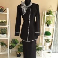 Set Blazer Pakaian Kantor Wanita Hitam Batik Baju Kerja Seragam Keren