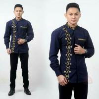 baju koko gus azmi motif unter navy seragam batik