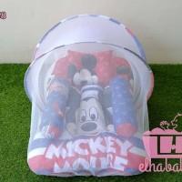 kado lahiran set kasur bayi kelambu karakter minie / mickey mouse