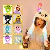 topi kelinci topi anak bergerak LED kupluk telinga