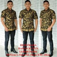 Hem Batik Prada Emas Kemeja Batik Pria Lengan Pendek Baju Batik Cowok