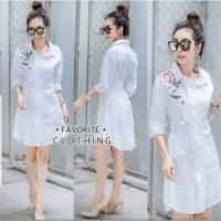 kemeja dress tunik hem longshirt wanita long shirt minidress putih