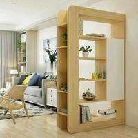 lemari rak partisi ruangan kayu jati belanda pembatas ruangan