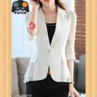 baju atasan wanita blouse kantor blus outer blaser maxi blazer putih