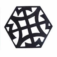 6 Decor Plafon Dinding Kuningan Asli Hexagonal - Desain #7 / A Black