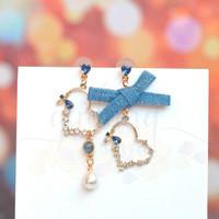 Anting Stud Panjang Asimetris Blue Ribbon Heart Hati GH 203629