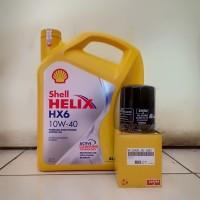 Paket Oli Shell Helix HX6 10W-40 + Filter Oli Mobilio, Jazz, Brio