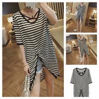 Baju Blouse Hitam Putih Blouse Salur Belang FZR Top Stripe Cross hn