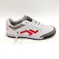SEPATU FUTSAL ZETHRO 100% ORIGINAL Alfa Leather 2.0 IN (White Red)