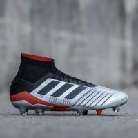 Sepatu Bola Adidas Predator 19.1 Fg - Silver Metallic Core Black