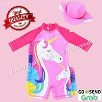 Baju Renang Anak Cewek Perempuan Usia 2-7 Motif UNICORN PINK + TOPI