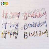 Banner Bunting Flag / Happy Birthday Gold Cursive Tulisan Sambung