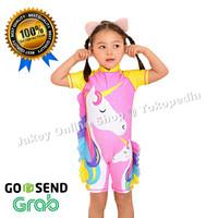 Baju Renang Anak Cewek Perempuan Usia 2-7 Motif UNICORN YELLOW + Topi
