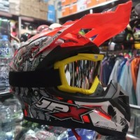 Helm Cross JPX Owl Orange Fluo plus GOOGLE