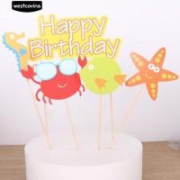 5Pcs Set Sea Animal Selamat Ulang Tahun Kue Topper Pick Dekorasi Pes