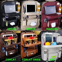 Set Car Seat Organizer Plus Meja Lipat Tas Multi Fungsi Belakang Jok K