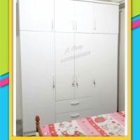 Lemari pakaian minimalis 4 pintu jumbo murah. tinggi di atas 2 meter.