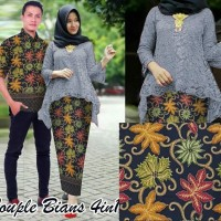 Baju Couple Batik Muslim / Kebaya Kondangan Copel Bibi Bians Abu