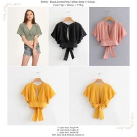 49945 Deep V Crop Top / Blouse Crop Hitam Hijau Pink Kuning