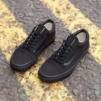 Sepatu Sneakers Vans Oldskool All Black / Hitam Polos - 36, Hitam