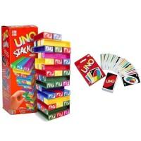Paket UNO Stacko + Kartu / Card Mainan Susun Balok Block Seru