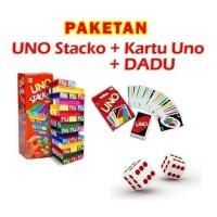 [NON JKT] Paket UNO Stacko + Kartu / Card + Dadu / Dice Mainan Balok
