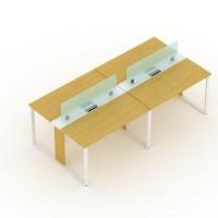 meja kantor uno partisi 4 orang kaki metal dengan sekat kaca
