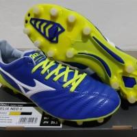 Sepatu Bola - Soccer Mizuno Morelia Neo II Leather Blue Print Safety