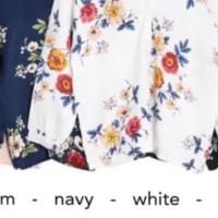 Good Quality Baru! Baju Atasan Wanita Blouse V-Neck Floral Bahan