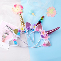 Bando unicorn bunga untuk tuan putri anak perempuan cantik lucu
