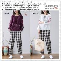Setelan Baju Atasan Lengan Celana Kulot Kotak Wanita Korea AB537157